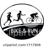 Poster, Art Print Of Bike And Run Marathon Runner Oval Retro Black And White