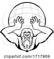 Poster, Art Print Of Atlas Holding Up World Front View Mascot Black And White