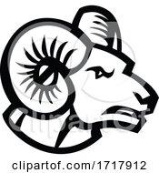 Head Of Bighorn Sheep Ram Side View Mascot Retro Black And White