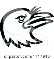 American Crow Head Side Mascot Black And White