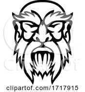 Head Of Cronus Greek God Front View Mascot Black And White