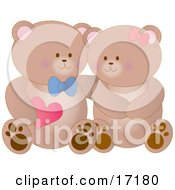 Boy Teddy Bear Holding A Heart And Resting His Arm Around His Girlfriends Shoulder As They Cuddle On Valentines Day Clipart Illustration