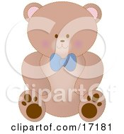 Cute Brown Teddy Bear Wearing A Blue Bow by Maria Bell