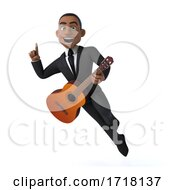 Poster, Art Print Of 3d Black Businessman With A Guitar On A White Background