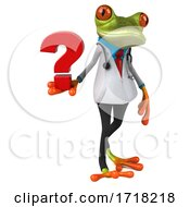 3d Green Doctor Frog On A White Background