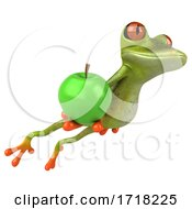 3d Green Frog On A White Background