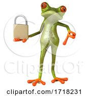 Poster, Art Print Of 3d Green Frog On A White Background