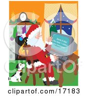 Cute Black And White Puppy Seated Beside Santa Claus As He Checks His Email Clipart Illustration