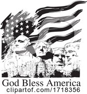 Mount Rushmore With A USA Flag And God Bless America Text Black And White