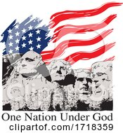 Mount Rushmore With An American Flag And One Nation Under God Text