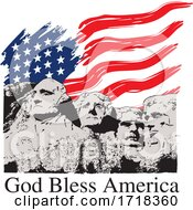 Mount Rushmore With An American Flag And God Bless America Text