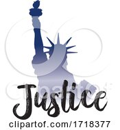 Gradient Statue Of Liberty With Justice Text