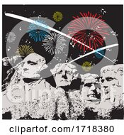 Mount Rushmore With Independence Day Fireworks