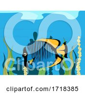 Hand Drawn Tropical Fish On Sea Vegetation Background