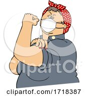 Chubby Rosie The Riveter Flexing And Wearing A Covid Mask