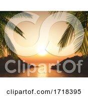 3D Palm Trees Against A Sunset Ocean Landscape