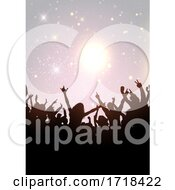 Party Crowd On A Silver Glittery Background
