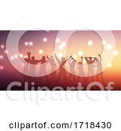 Poster, Art Print Of Banner Design With Silhouettes Of People Dancing