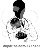 Poster, Art Print Of Doctor Pointing Needs You Gesture Silhouette