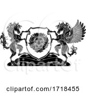 Poster, Art Print Of Crest Pegasus Horse Coat Of Arms Lion Shield Seal