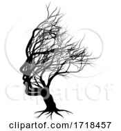 Optical Illusion Bare Tree Face Child Silhouette