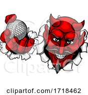 Devil Satan Golf Ball Sports Mascot Cartoon by AtStockIllustration