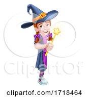 Poster, Art Print Of Kid Cartoon Girl Child Halloween Witch Sign