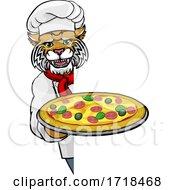 Poster, Art Print Of Wildcat Pizza Chef Cartoon Restaurant Mascot Sign