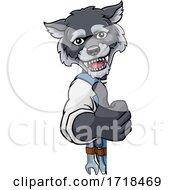 Poster, Art Print Of Wolf Mascot Plumber Mechanic Handyman Worker
