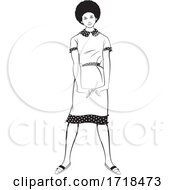 Black And White Lady In A Fashionable Dress