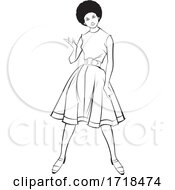 Black And White Lady Presenting In A Fashionable Dress