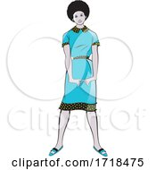 07/09/2020 - Beautiful Black Lady In A Fashionable Blue Dress