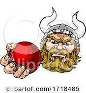 Viking Cricket Ball Sports Mascot Cartoon