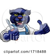 Panther Electrician Handyman Holding Screwdriver