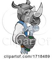Poster, Art Print Of Rhino Carpenter Handyman Builder Holding Hammer