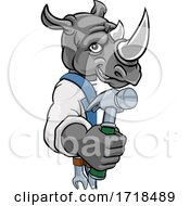 Rhino Carpenter Handyman Builder Holding Hammer by AtStockIllustration