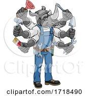 Poster, Art Print Of Rhino Multitasking Handyman Holding Tools