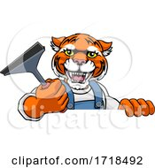 Tiger Car Or Window Cleaner Holding Squeegee