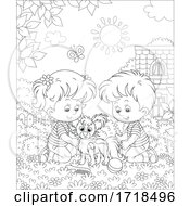 Poster, Art Print Of Boy And Girl With A Dog Black And White