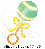 Green Yellow And Orange Baby Rattle Toy