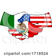 Shaking American And Mexican Flag Hands by Vector Tradition SM