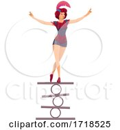 Female Circus Performer Balancing by Vector Tradition SM