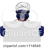 Panther Chef Cartoon Restaurant Mascot Sign
