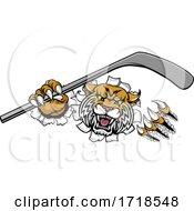 Poster, Art Print Of Wildcat Ice Hockey Player Animal Sports Mascot