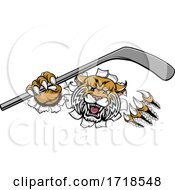 Wildcat Ice Hockey Player Animal Sports Mascot by AtStockIllustration