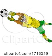 Poster, Art Print Of Wildcat Soccer Football Player Sports Mascot