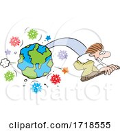 Poster, Art Print Of Man Flying From Planet Earth Surrounded With Corona Virus