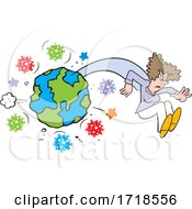 Poster, Art Print Of Woman Flying From Planet Earth Surrounded With Corona Virus
