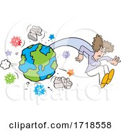 Poster, Art Print Of Woman Flying From Planet Earth With Corona Virus And Statues