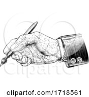 Poster, Art Print Of Hand In Business Suit Holding Artists Paintbrush